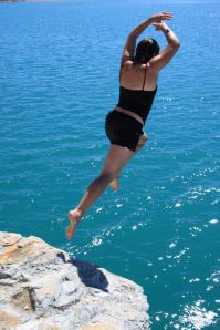 Angela Taking the Plunge